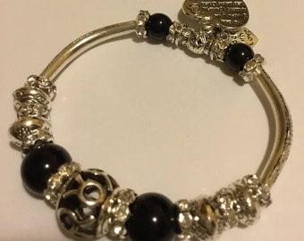 Silver, black stretch bracelet