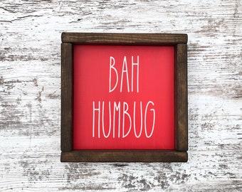 Bah hum bug metal hanging sign.