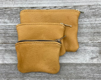 Zipper leather pouch SmileNo.2 Genuine Pig Skin Leather Pouch Bridesmaid gift Leather case