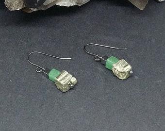 Hematite, Aventurine and Iron Pyrite Cube Earrings