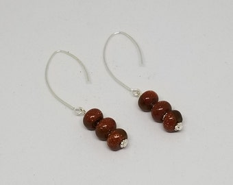 Gold Sandstone and Silver Drop Earrings