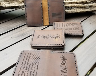 Vertical 6 pocket handmade leather wallet with, We the people, pledge of allegiance, and American flag engravings! FREE SHIPPING