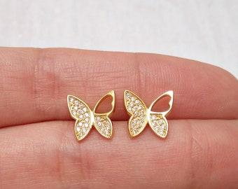 aaa43811b Dainty gold butterfly earrings with zirconia, pave gold earrings, tiny butterfly  earrings stud, gold earrings for girl
