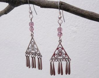 Sterling silver earrings, bohemian earrings, crystal earrings, hippie earrings, boho earrings, bohemian jewelry, pink crystal