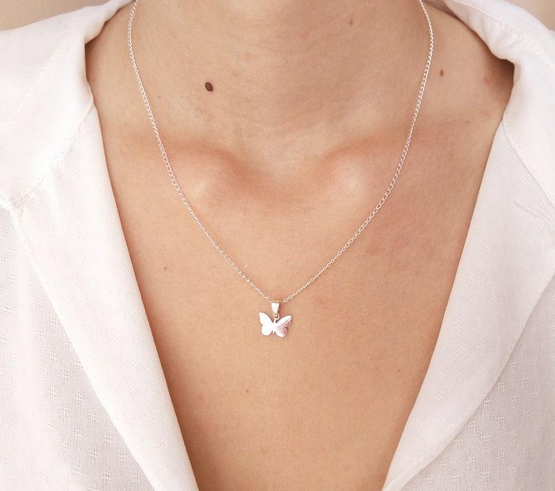 696aef39d5bf Collar de plata 925 collar mariposa mariposa de joyería de