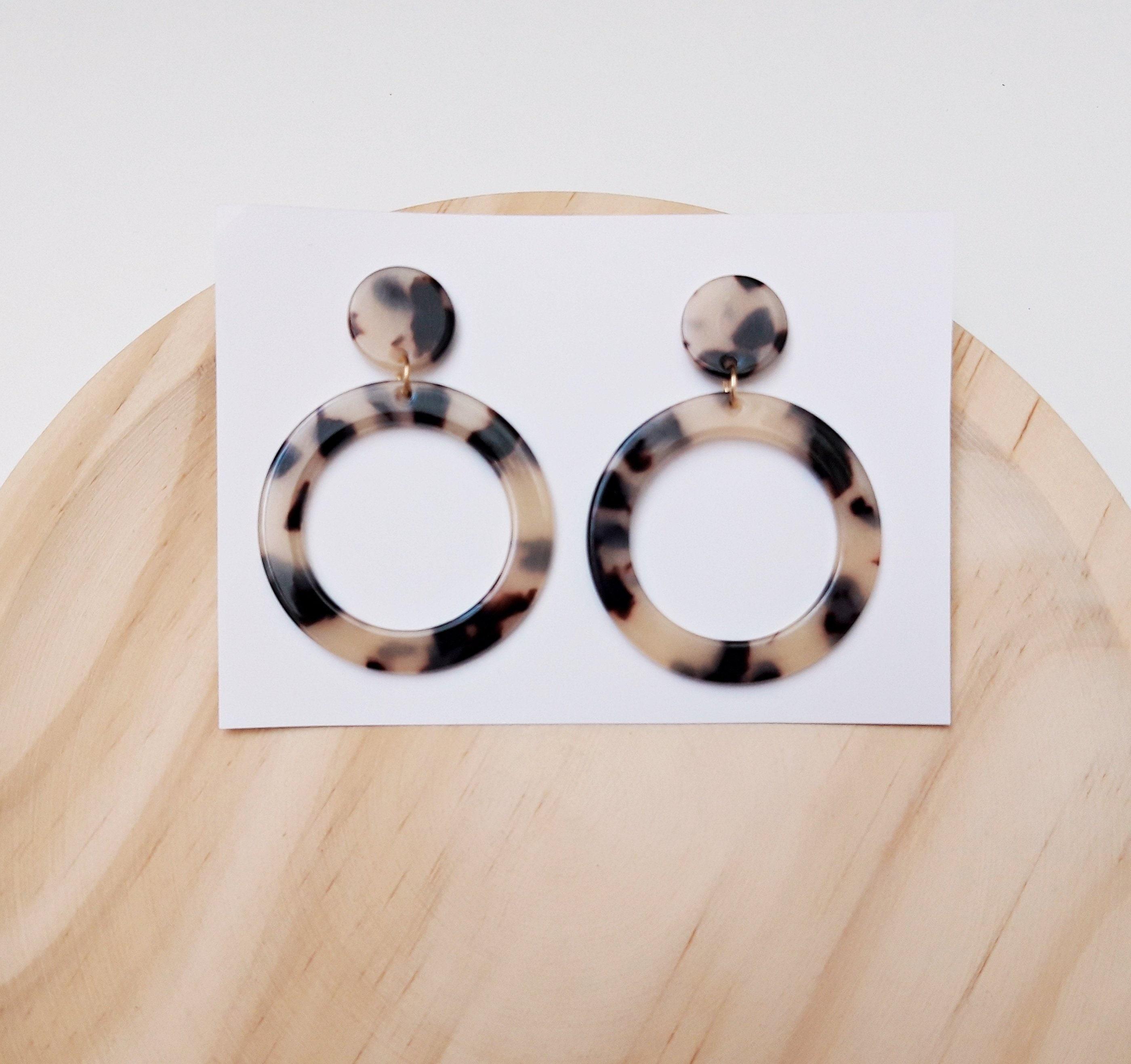 resin circle stud earrings Super cute turtle tortoise
