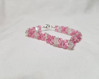 Pink sparkly bicone bracelet