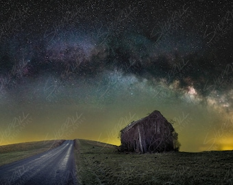 Limited Edition Fine Art Print of Spring Milky Way over Old Barn