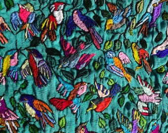 """A Thousand Tiny Birds - Quit Panel or Centerpiece - Hand Embroidered in Guatemala - 27.5"""" x 33"""""""