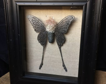 Gunmetal Bullet Moth Faux Taxidermy
