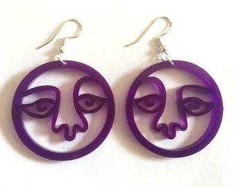 Purple Face Earrings