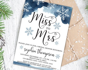 winter bridal shower invitation snowflake bridal shower watercolor snowflakes modern font cute bridal shower modern dusty blue
