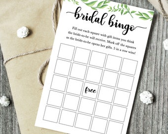 instant download greenery bridal bingo game bridal shower games bridal shower bingo cute greenery party games