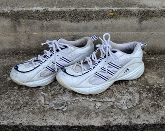 pretty nice 94889 22738 Vintage 90s Adidas Sneakers Tennis Shoes Retro Shoes Adidas White Blue  Leather Shoes Three Stripe Lace up Hipster Boots Womens US 5.5 UK 4