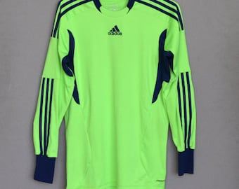 6e04bcd2e Vintage Adidas Soccer Neon green t-shirt Goalkeeper Adidas Long Sleeved  Keeper Shirt With Elbow Padding football shirt Small Medium Size