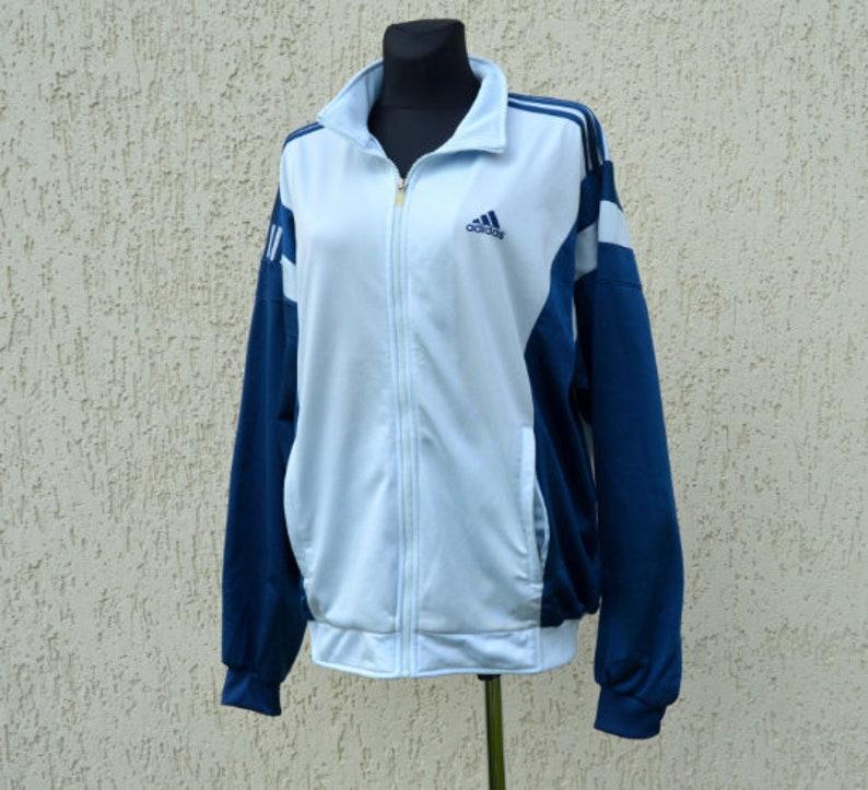 c7e11934440ed Adidas Sports Jacket 90s Vintage Tracksuit Top Training Jacket Streetwear  Men's Zip Up Sportswear Adidas Grey Blue Shell Jacket Large Size