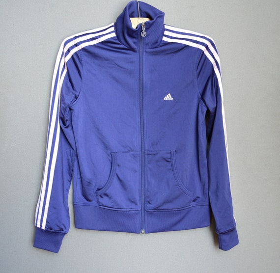 Adidas Purple Sports Jacket Vintage Adidas Zip Up Sweater Striped Sleeves Tracksuit bomber jacket 90s Adidas Sweater Top Medium Size