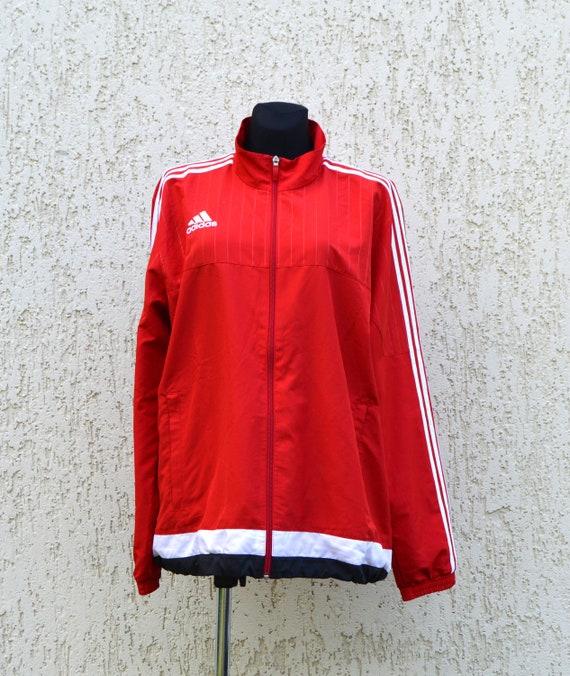 Red Adidas Jacket Hip Hop Style Tracksuit vintage Adidas Red Blue White Jacket Windbreaker Training Jogging Sports Jacket Extra Large