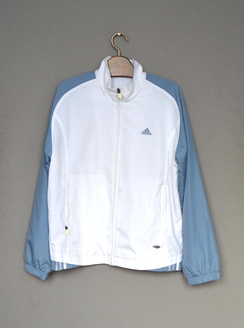 Weiß Adidas Trainingsanzug Vintage Adidas weiß blau Bomberjacke 90er Jahre Reißverschluss Jacke Hipster Pullover Top mittlerer Größe