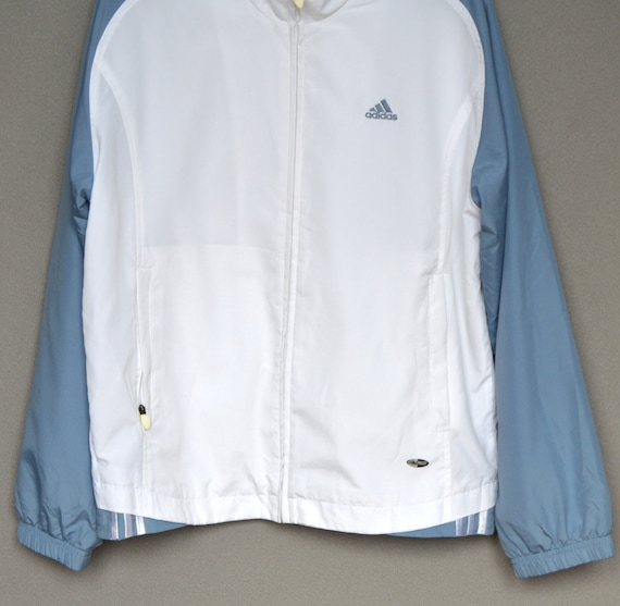 Vintage White Adidas Tracksuit Adidas white blue bomber jacket 90s zip jacket Adidas Sweater Top Medium Size
