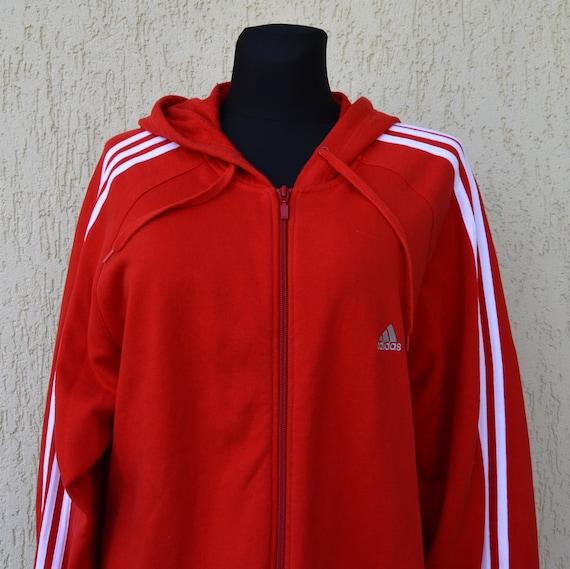 Adidas Kapuzenjacke rot Pullover Vintage ADIDAS Track Jacke 90er Jahre Kapuze Trefoil 3 lila Old School Sport Hipster Jumper Extra große Größe