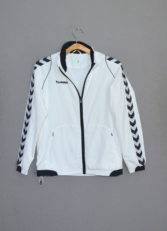 Jahrgang Hummel Windbreaker weiße Jacke Hummel Retro Track Jacke Trainingsanzug kleine Größe