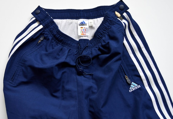 Vintage Adidas Track Hose Hip Hop Sportwear Hose ADIDAS TREFOIL Side Stripe Blue Pants Hipster Sweatsuit große mittlere Größe