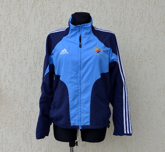 Vintage 90's Adidas Zipper Jumper Adidas Blue Hoodie Zipper Jacket Adidas Tracksuit bomber jacket Adidas Sweater Top Large Size