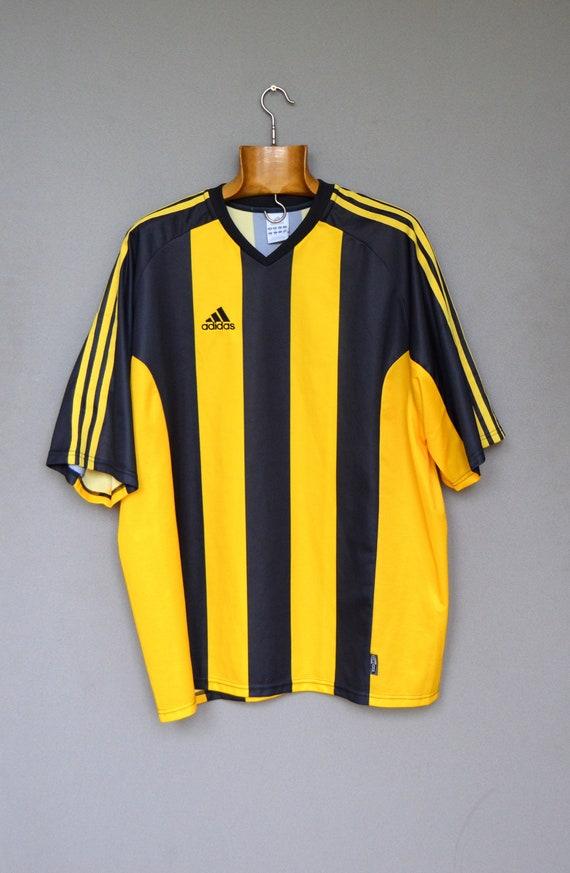Vintage Adidas Soccer Shirt Adidas Striped Top Streetwear Fashion Adidas Old School Sport Hipster Shirt Yellow Black Adidas shirt XXL Size
