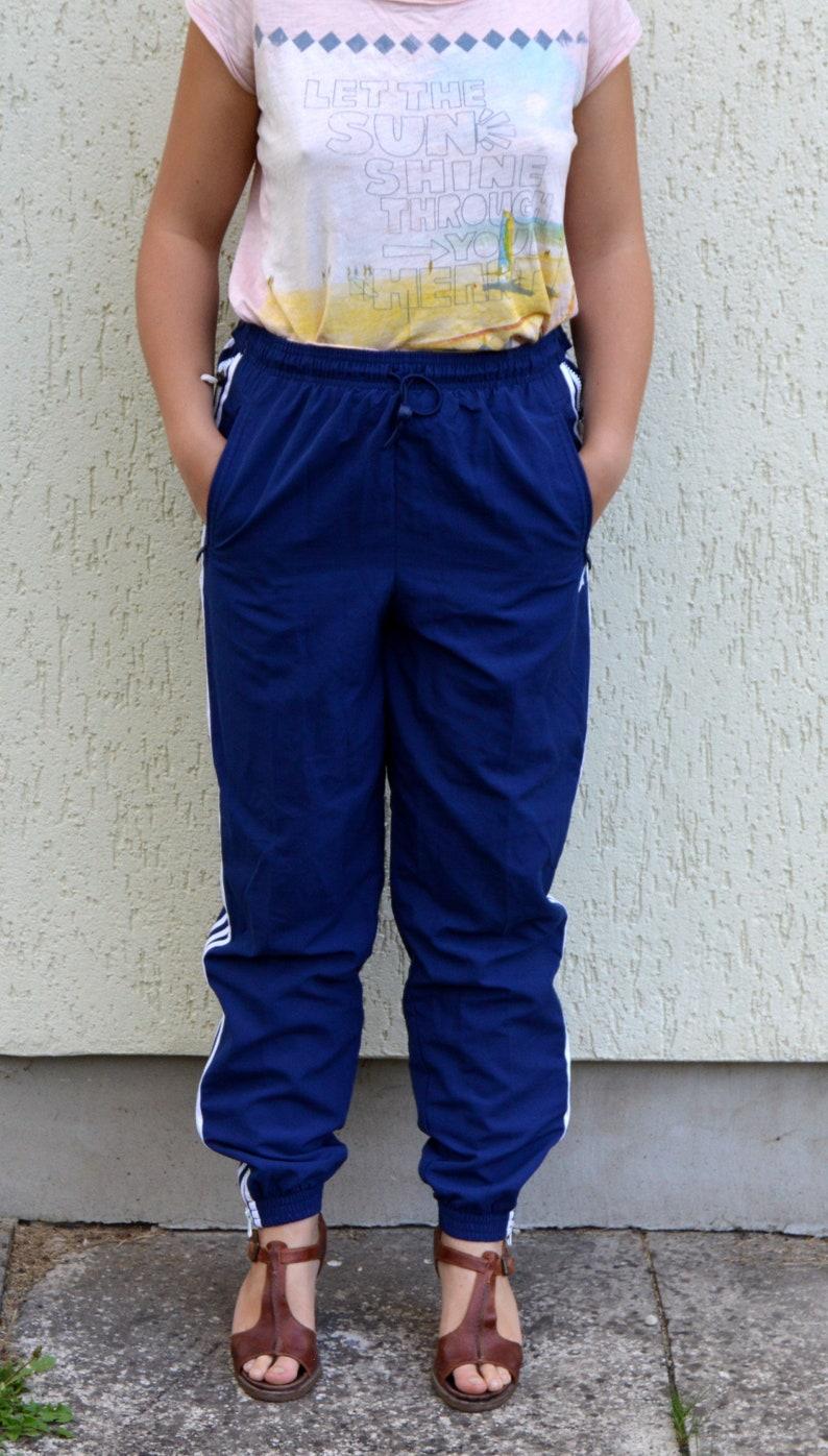 1d5946389c92 Vintage Adidas Track Pants Blue Sports Athletic Pants Trousers
