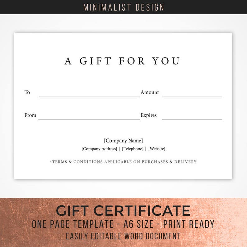Minimalist Style Gift Certificate Template A Gift For You Etsy