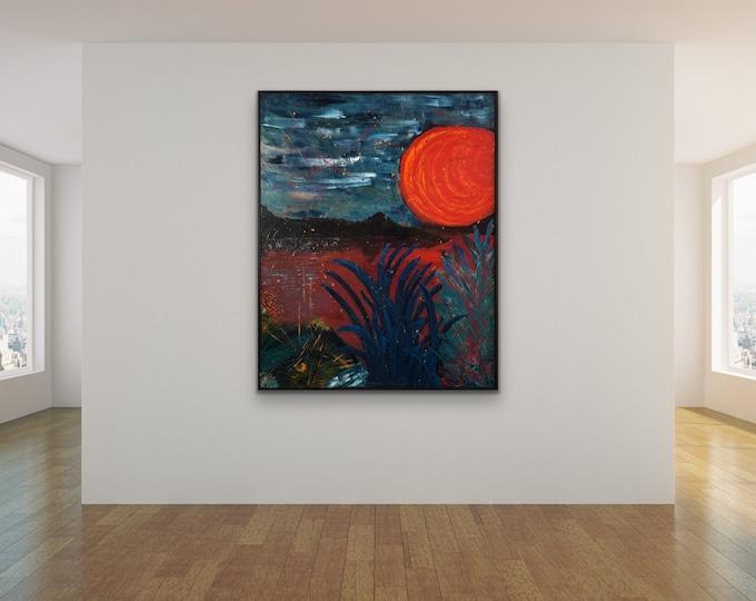 Blood Moon on Large Canvas