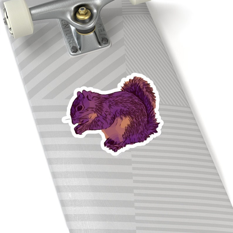 Purple Squirrel Vinyl Sticker - Printify Animal Sticker - Squirrel Laptop  Decal