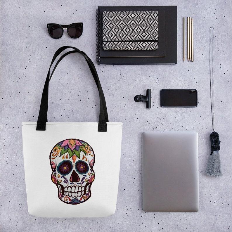 Sugar Skull Tote Bag - Printify Art Print Items - Sugar Skull Gifts
