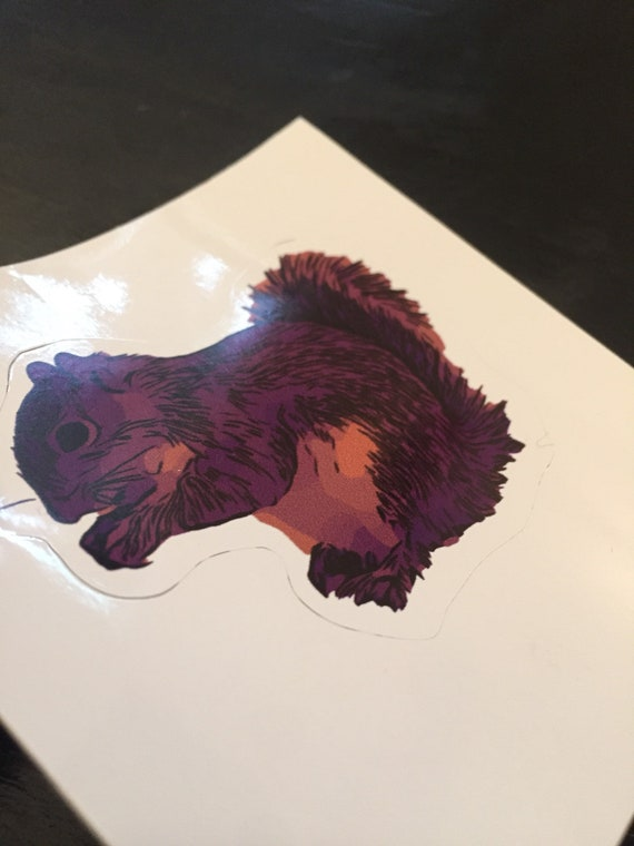 Purple Squirrel Vinyl Sticker - Printify Animal Sticker - Squirrel Laptop  Decal