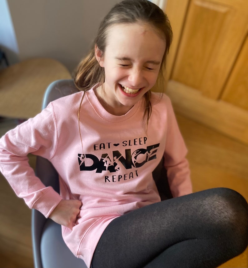 In sizes 3-13 years Dance Sweatshirt Baby Pink Dancewear for  keeping warm on way to studio Maybe out with friends whilst limbering up
