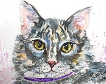 Custom Cat Portrait Custom Cat Painting Custom Pet portrait Watercolor Painting Original Painting Pet Memorial Art Custom Portrait