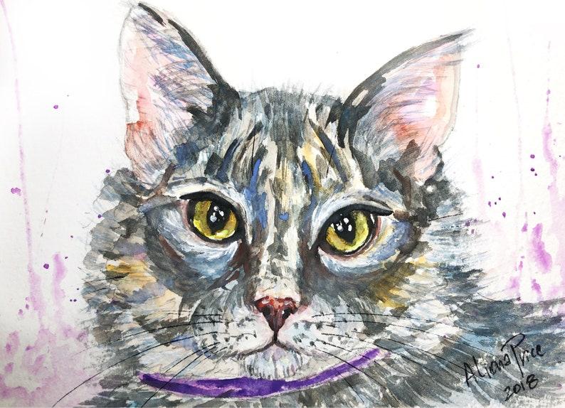 Custom Pet portrait Painting Watercolor Pet Portrait Dog Portrait Custom Pet Painting Custom Dog Portrait Original painting Cat Gift Art