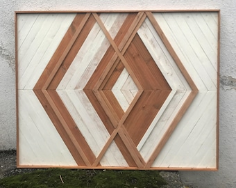 Modern Wood Art Wall Geometric Boho Decor Rustic Home Hanging
