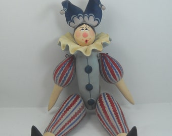 Handmade ceramics puppet movable 25 cm (part of the neck and slightly nicked)