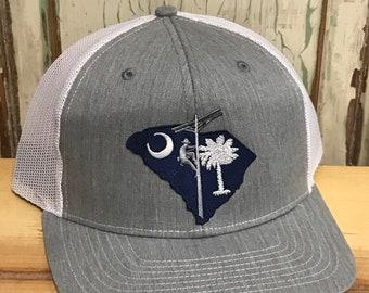 7d465222 South Carolina Lineman NC Patch Trucker Hat Heather Grey/White