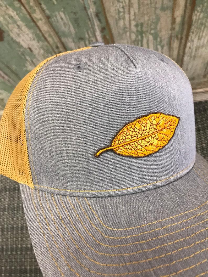 5db75f64 Tobacco Leaf Patch Trucker Hat Heather Grey/Amber | Etsy