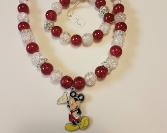 17 inch red, white, bling beaded necklace with Mickey Mouse pendant  & matching 7 inch bracelet