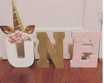 Unicorn/ Winter Onderland ONE Letters, Birthday letters, props, centerpieces