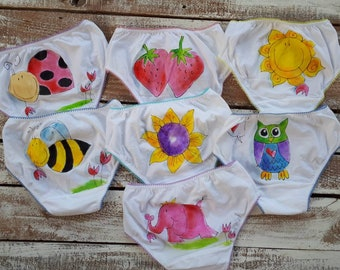 e38490548e63 Girls panties, toddlers undies, hand painted, knickers, colorful, potty  training incentive, buy 1, set of 3 or 7 ( for each day of the week)