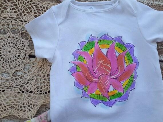 Pink Lotus Hand Painted On Baby Bodysuit Trendy Onesie Yoga Etsy