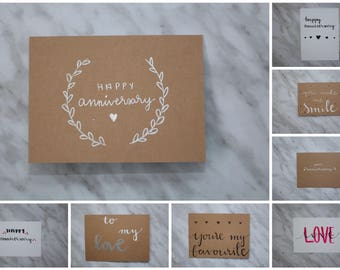 Hand Lettered Anniversary Greeting Cards