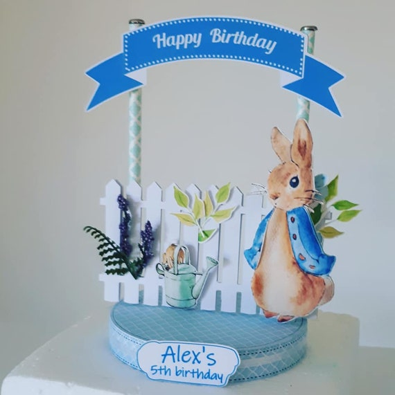Surprising Peter Rabbit Cake Topper Personalised Peter Rabbit Birthday Etsy Personalised Birthday Cards Epsylily Jamesorg