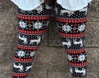 Black and Red Reindeer Leggings