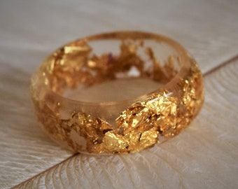 Clear Resin Ring with Gold Leaf, Engagement Ring, Promise Ring, Gold Leaf, Resin Jewelry